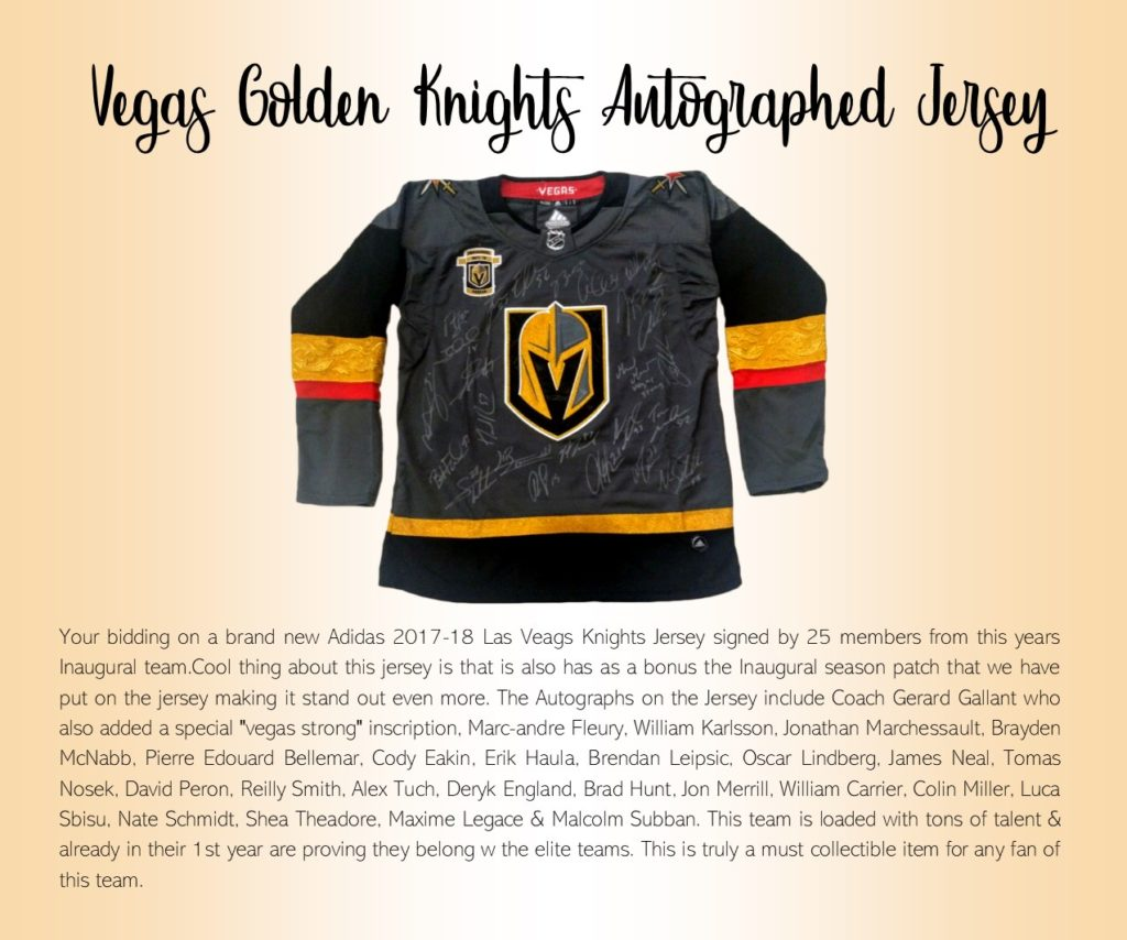 Your bidding on a brand new Adidas 2017-18 Las Vegas Knights Jersey signed  by 25 members from this years Inaugural team 449c6f399